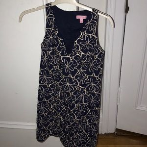 Lily Pulitzer navy/gold shift dress